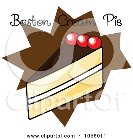 Royalty-Free Vector Clip Art Illustration of a Slice Of Boston Cream Pie With Text On A Brown Burst by Pams Clipart