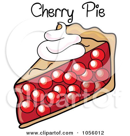 Royalty-Free Vector Clip Art Illustration of a Slice Of Cherry Pie With Text by Pams Clipart