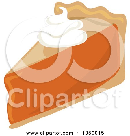 Royalty-Free Vector Clip Art Illustration of a Dollop Of Whipped Cream On A Slice Of Pumpkin Pie by Pams Clipart