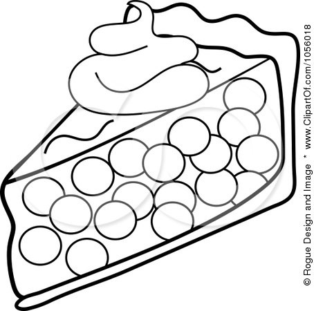 Royalty-Free Vector Clip Art Illustration of an Outline Of A Slice Of Cherry Pie Topped With A Dollop Of Whipped Cream by Pams Clipart