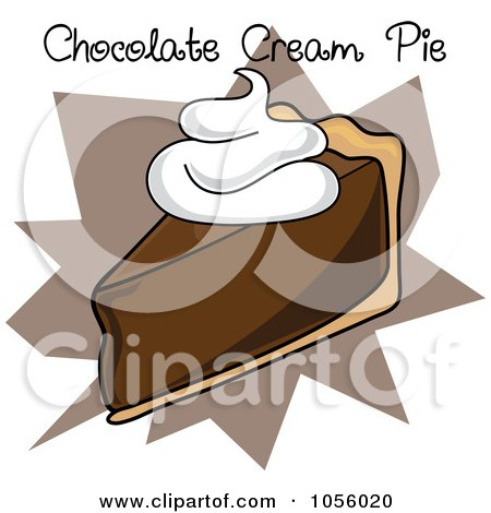 Royalty-Free Vector Clip Art Illustration of a Slice Of Chocolate Cream Pie With Text On A Brown Burst by Pams Clipart