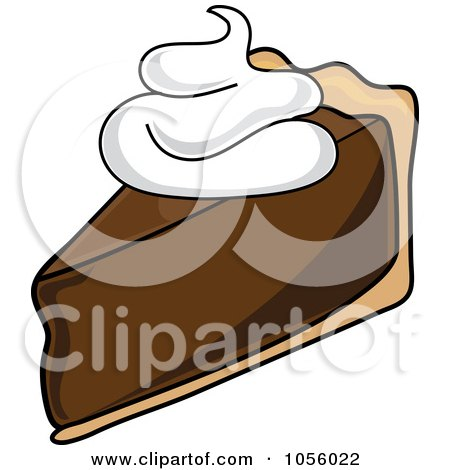 Royalty-Free Vector Clip Art Illustration of a Slice Of Chocolate Cream Pie With Whipped Cream by Pams Clipart