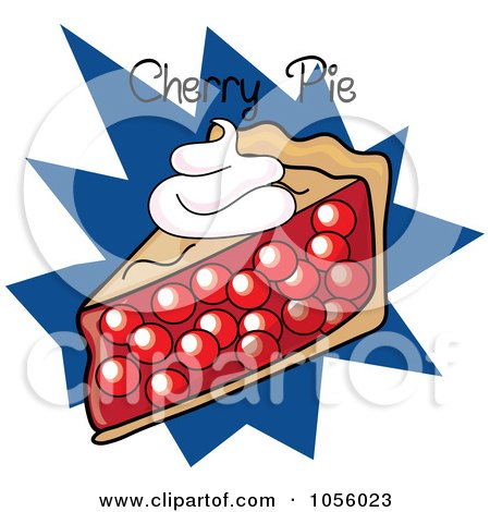 Royalty-Free Vector Clip Art Illustration of a Slice Of Cherry Pie With Text On A Blue Burst by Pams Clipart