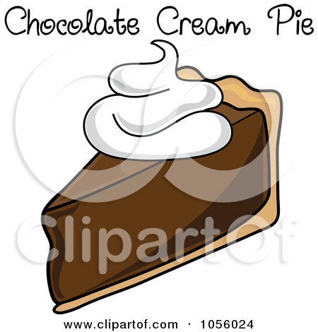 Royalty-Free Vector Clip Art Illustration of a Slice Of Chocolate Cream Pie With Text by Pams Clipart