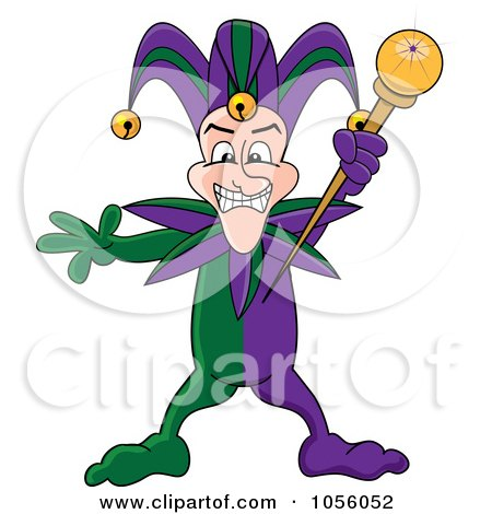 Royalty-Free Vector Clip Art Illustration of a Mardi Gras Jester Holding A Wand by Pams Clipart