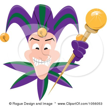 Royalty-Free Vector Clip Art Illustration of a Grinning Mardi Gras Jester Holding A Wand by Pams Clipart