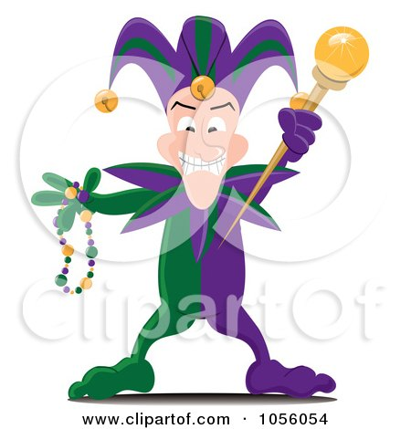 Royalty-Free Vector Clip Art Illustration of a Mardi Gras Jester Holding A Wand And Beads by Pams Clipart