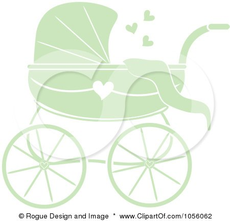 Royalty-Free Vector Clip Art Illustration of a Green Baby Carriage Pram With A Heart by Pams Clipart