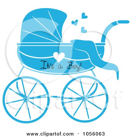 Royalty-Free Vector Clip Art Illustration of a Blue Its A Boy Baby Carriage Pram With A Heart by Pams Clipart