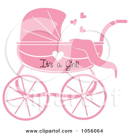 Royalty-Free Vector Clip Art Illustration of a Pink Its A Girl Baby Carriage Pram With A Heart by Pams Clipart