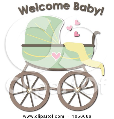 Royalty-Free Vector Clip Art Illustration of a Green Baby Carriage Pram With Welcome Baby Text by Pams Clipart