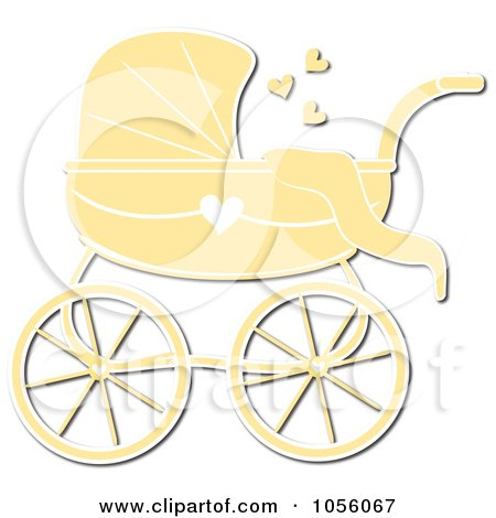 Royalty-Free Vector Clip Art Illustration of a Yellow Baby Carriage Pram With A Heart by Pams Clipart