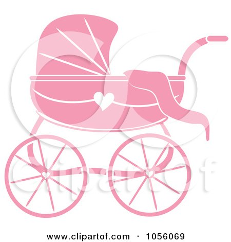 Royalty-Free Vector Clip Art Illustration of a Pink Baby Carriage Pram With A Heart by Pams Clipart