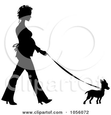 Royalty-Free Vector Clip Art Illustration of a Black Silhouetted Pregnant Woman Walking A Chihuahua Dog by Pams Clipart