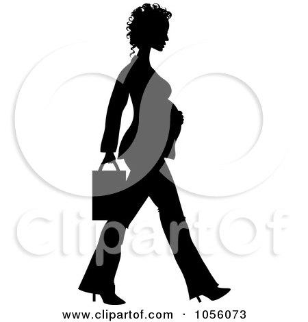 Royalty-Free Vector Clip Art Illustration of a Black Silhouetted Pregnant Business Woman Walking by Pams Clipart