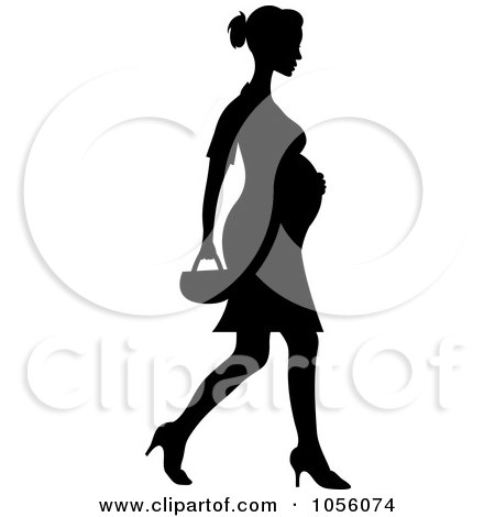 Royalty-Free Vector Clip Art Illustration of a Black Silhouetted Pregnant Woman Walking In Heels by Pams Clipart