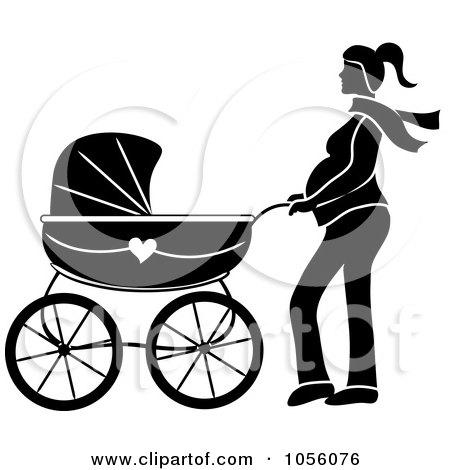 Royalty-Free Vector Clip Art Illustration of a Black Silhouetted Pregnant Woman Walking With A Pram by Pams Clipart