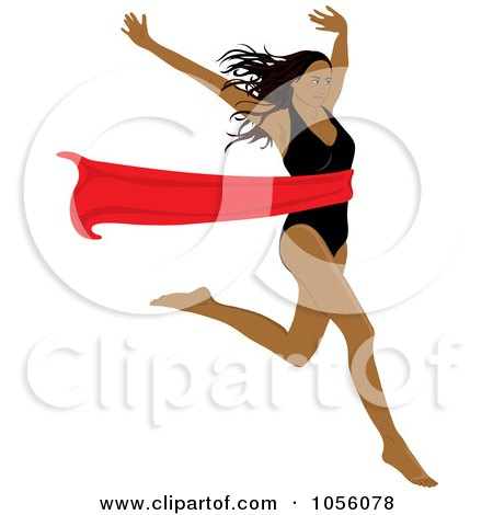 Royalty-Free Vector Clip Art Illustration of a Black Woman Breaking Through A Red Ribbon by Pams Clipart