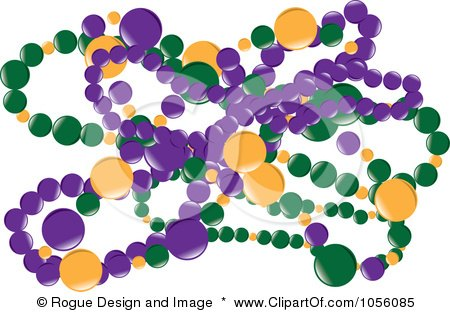 Royalty-Free Vector Clip Art Illustration of Green, Purple And Yellow Mardi Gras Beads by Pams Clipart