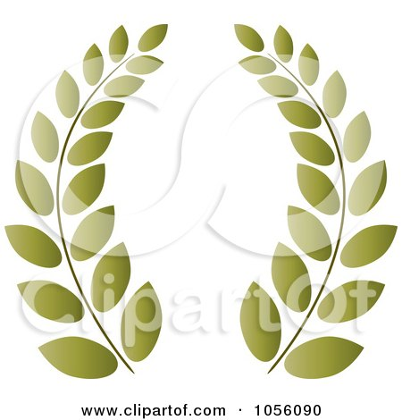 Royalty-Free Vector Clip Art Illustration of a Green Greek Wreath Of Olive Branches by Pams Clipart