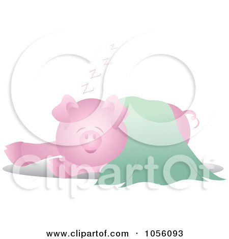 Royalty-Free Vector Clip Art Illustration of a Pig In A Green Blanket by Pams Clipart