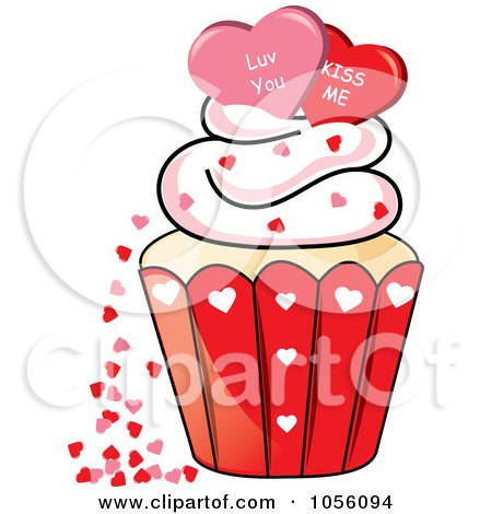 Royalty-Free Vector Clip Art Illustration of Love You And Kiss Me Hearts On Top Of A Valentines Day Cupcake by Pams Clipart
