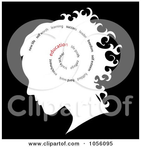 Royalty-Free Vector Clip Art Illustration of a White Silhouetted Girl's Head With A Spiral Of Words, Education Standing Out by Pams Clipart