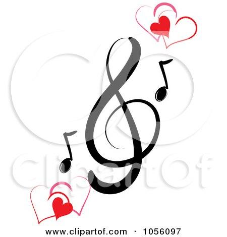 Royalty-Free Vector Clip Art Illustration of a Music Clef And Hearts by Pams Clipart