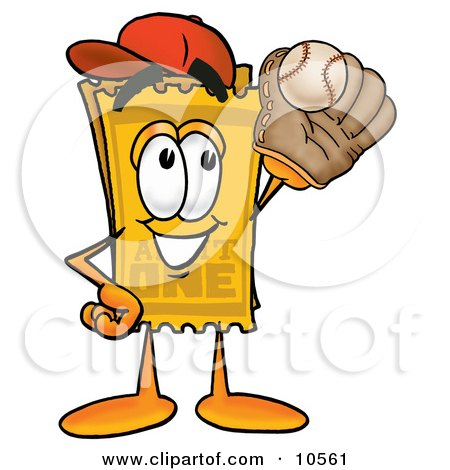 Clipart Picture of a Yellow Admission Ticket Mascot Cartoon Character Catching a Baseball With a Glove by Toons4Biz