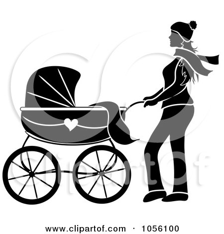 Royalty-Free Vector Clip Art Illustration of a Black Silhouetted Woman Walking With A Baby Carriage by Pams Clipart
