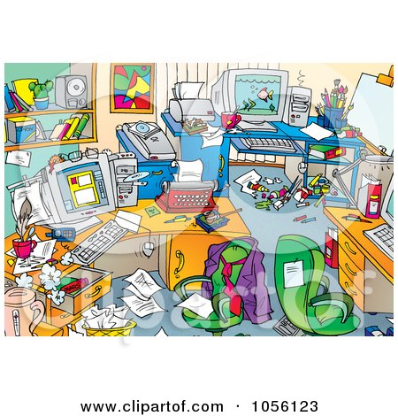 Royalty-Free Clip Art Illustration of a Very Messy Men's Office With Clutter On The Desks And Floors by Alex Bannykh