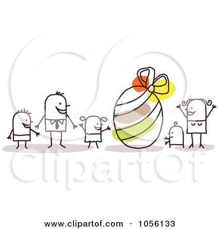 Royalty-Free Vector Clip Art Illustration of a Stick Family With A Giant Easter Egg by NL shop