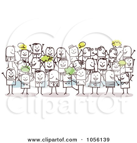 Royalty-Free Vector Clip Art Illustration of a Happy Crowd Of ...