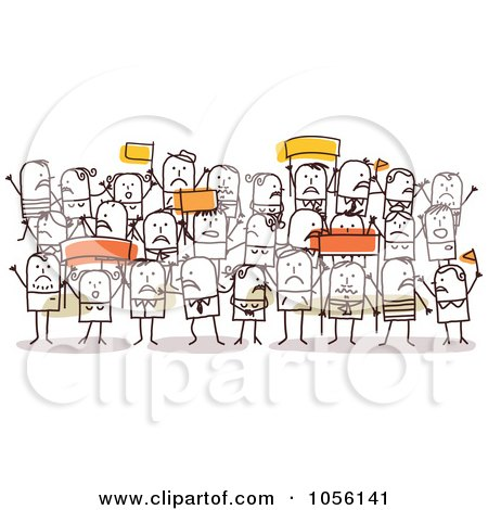 Royalty-Free Vector Clip Art Illustration of a Crowd Of Protesting Stick People by NL shop
