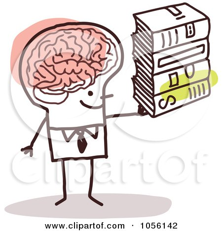 Free Vector Clip Art Illustration of a Stick Man With A Huge Brain