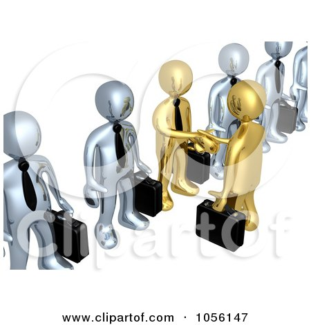 3d Gold Business Men Shaking Hands In A Line Of Silver Men Posters, Art Prints