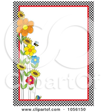 Royalty-Free Vector Clip Art Illustration of a Bee With Spring Flowers And A Snail With A Checkered Border And Copyspace by Maria Bell