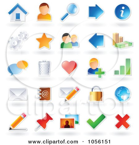 Royalty Free Vector Clip Art Illustration Of A Digital Collage Of Sticker Icons With Shadows