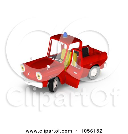Royalty-Free CGI Clip Art Illustration of a 3d Red Fire Engine Truck Character by Michael Schmeling