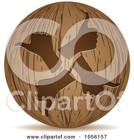 Royalty-Free Vector Clip Art Illustration of a 3d Wooden Thumbs Up Sphere Icon by Andrei Marincas