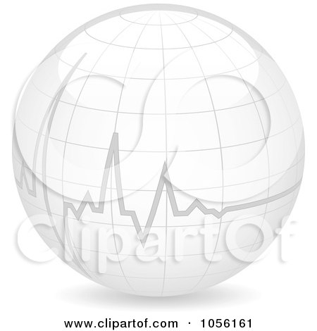 Royalty-Free Vector Clip Art Illustration of a Heart Beat On A 3d Globe by Andrei Marincas