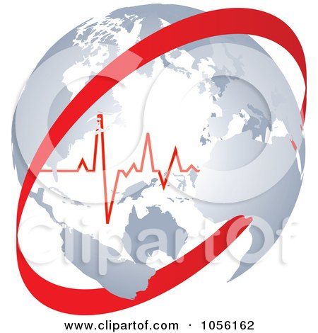 Royalty-Free Vector Clip Art Illustration of a Heart Beat Inside A Globe With A Red Circle by Andrei Marincas