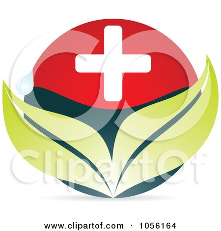Royalty-Free Vector Clip Art Illustration of a Medical Cross With Leaves And A Water Drop by Andrei Marincas