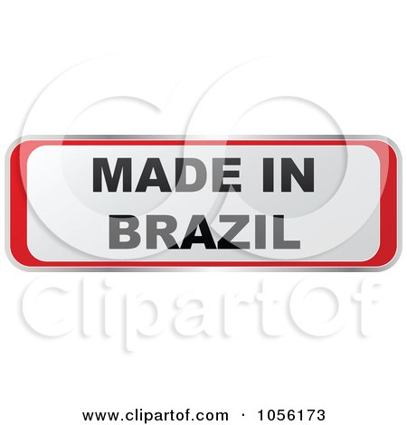 Royalty-Free Vector Clip Art Illustration of a Red And White MADE IN BRAZIL Sticker by Andrei Marincas