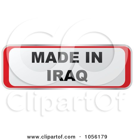 Royalty-Free Vector Clip Art Illustration of a Red And White MADE IN IRAQ Sticker by Andrei Marincas