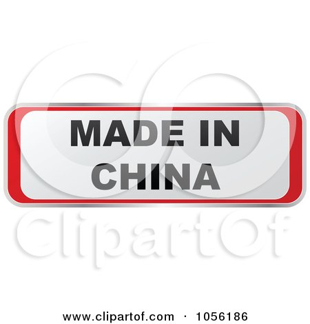 Royalty-Free Vector Clip Art Illustration of a Red And White MADE IN CHINA Sticker by Andrei Marincas
