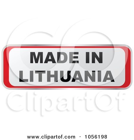 Royalty-Free Vector Clip Art Illustration of a Red And White MADE IN LITHUANIA Sticker by Andrei Marincas
