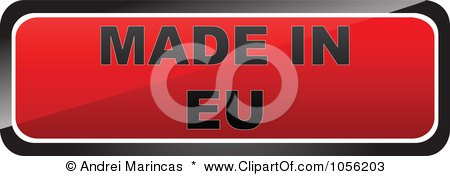 Royalty-Free Vector Clip Art Illustration of a Red MADE IN EU Sticker by Andrei Marincas