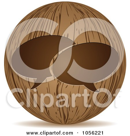 Royalty-Free Vector Clip Art Illustration of a 3d Wooden Live Chat Sphere Icon by Andrei Marincas