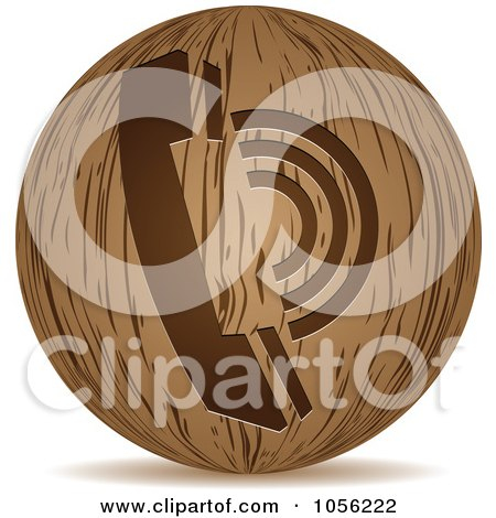 Royalty-Free Vector Clip Art Illustration of a 3d Wooden Telephone Sphere Icon by Andrei Marincas